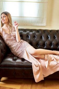 h-era maxi glitter lace dress