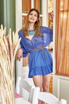 h-era blue ruffle mini dress