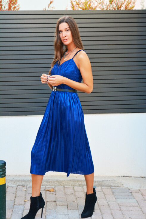 h-era blue metallic dress