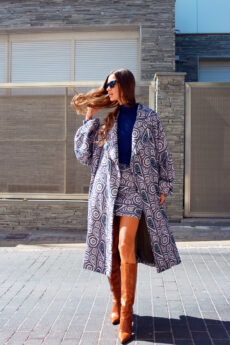 h-era oversized prints coat