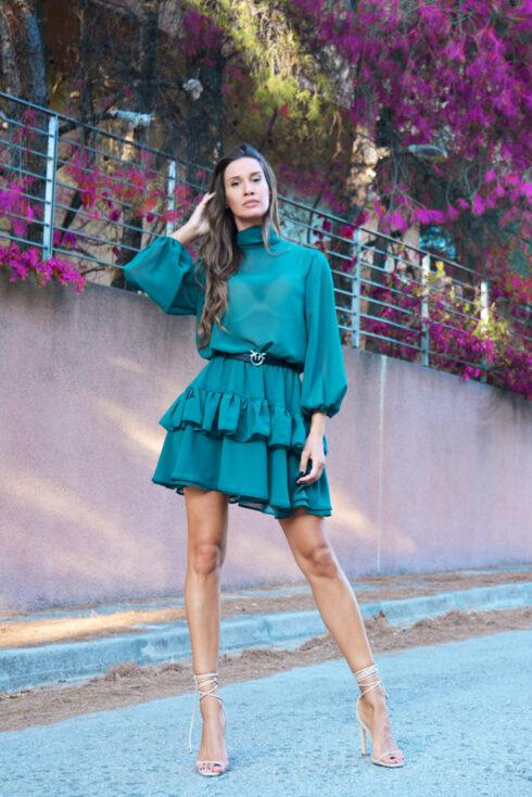 green georgette dress