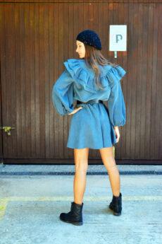 h-era grey ruffle dress