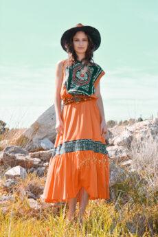hera orange boho dress