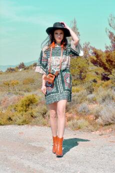 hera mini boho printed dress