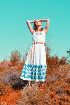 hera midi white embroidered dress