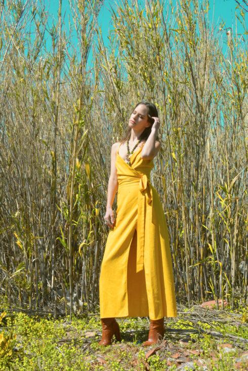 hera yellow wrap dress