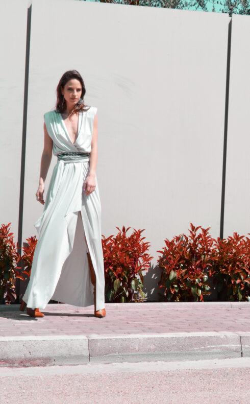 hera silver metallic dress