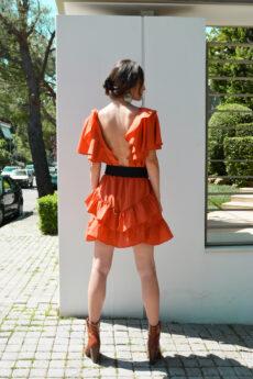 hera orange ruffle dress