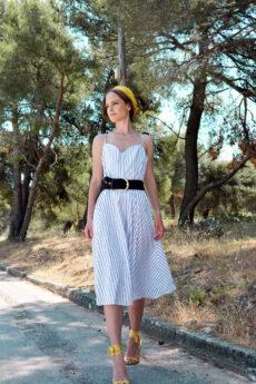 hera striped midi dress