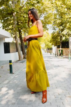 h-era mustard maxi ruffle dress