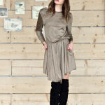 h-era brown alcantara short dress front