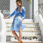 h-era baby blue shirt dress