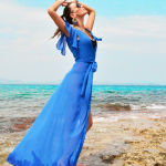 h-era blue kaftan dress
